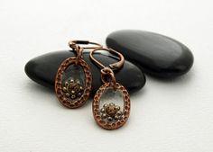 Crystal in resin oval Tierracast earring by DragonflyDreamers,