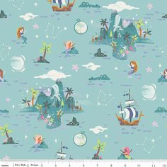 Neverland  Neverland Island Fabric  Mint  Sold by by TulaFabrics
