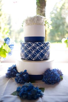 Blue and yellow diy oregon wedding white wedding cakes, yellow wedding, cak Nautical Wedding Cakes, Navy Blue Wedding Cakes, Yellow Wedding, Pretty Cakes, Beautiful Cakes, Amazing Cakes, Pantone, Traditional Wedding Cake, Traditional Weddings