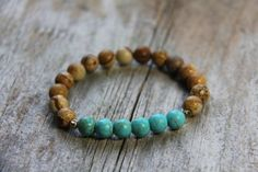 Wanderbird bracelet by Wanderbird. Made of picture jasper and turquoise Yoga Bracelet, Jasper Stone, Stone Beads, Turquoise Bracelet, Trending Outfits, Unique Jewelry, Handmade Gifts, Bracelets, Shop