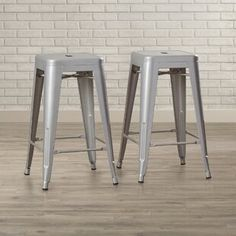Belleze Bar Stools Set of Vintage Counter Stool Modern French-Silver inches)