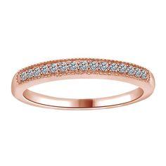 PAVE SOLID 10K ROSE GOLD DIAMOND WEDDING HALF ETERNITY BAND ENGAGEMENT RING #Affinityhomeshopping #Band