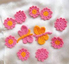 lot appliqués au crochet papillons et fleurslot appliqués au crochet