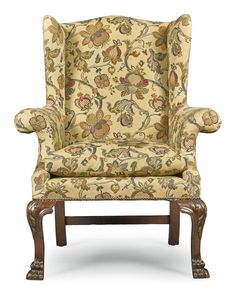 the out curved arms above acanthus carved cabriole legs terminating in lion paw feet Georgian Furniture, My Furniture, Upholstered Furniture, Antique Furniture, Winged Armchair, Antique Restoration, Vintage House Plans, Georgian Homes, Chair Fabric
