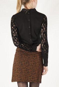 zwarte top met kant nynette shirt 7516007