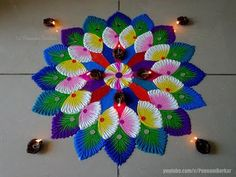 beautiful easy rangoli for Diwali - Revathi Yerlapati - Aktuelle Bilder Easy Rangoli Designs Videos, Simple Rangoli Designs Images, Rangoli Designs Latest, Rangoli Designs Flower, Latest Rangoli, Rangoli Designs Diwali, Rangoli Designs With Dots, Flower Rangoli, Beautiful Rangoli Designs
