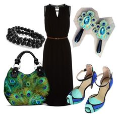 peacock dress by galeriamagia on Polyvore featuring moda, Oasis and Bling Jewelry