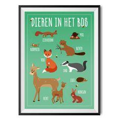 Poster Dieren in het bos A3 Poster met bosdieren, een decoratieve poster waar je ook nog wat van opsteekt!  Leuk voor op de kinderkamer. Poster in A3 formaat  (42x29,7 cm). Gedrukt op 200 grams papier en verzonden in stevige koker. De poster word zonder lijst geleverd.