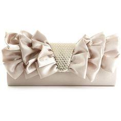 Jessica Mcclintock Handbag, Ruffle Evening Clutch ($26) ❤ liked on Polyvore featuring bags, handbags, clutches, purses, pink clutches, ruffle purse, party purse, sequin purse and pink handbags