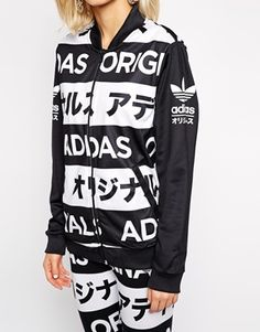Enlarge Adidas Orginals Track Top With All Over Typo Print