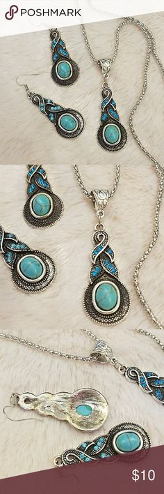 NEW ! Turquoise  blue set Stunning beautiful set NEW NO TAGS  18 1/2 in long necklace, pendant  and earrings are 2 in long beach. Turquoise  blue rhinestone. Antique finish silver and black. Mohegan or Aztec look. Accessories