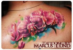 3D Pink Orchid Tattoos On Biceps » Tattoo Ideas