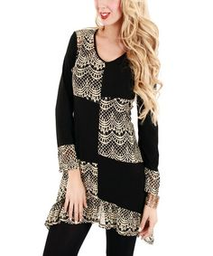 Another great find on #zulily! Black & Beige Color Block Lace Scoop Neck Tunic by Lily #zulilyfinds