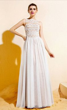 A-line Bateau Floor-length Lace And Tulle Dress