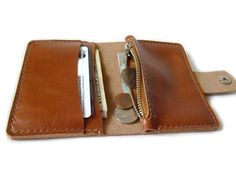 Leather Wallet - Mens / Women's Bifold wallet - Handmade wallet / card case - mini zip coin purse