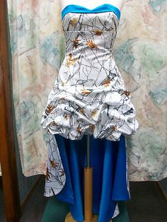 'Bobbi Sue' Custom CAMO Prom Wedding Bridesmaids Pick Up Skirt Short Dress.   Actually very pretty with the blue!