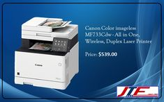 The Canon Color imageCLASS MF733Cdw printer is an all in one wireless duplex printer, offering by JTF Business Systems. It is a heavy-duty printing device, capable of churning out 28 pages in a single minute (1-sided plain paper letter). Also, it can print 23 pages in a minute (2-sided plain paper letter in black and white/color).   #CanonMF733Cdw, #ColorimageCLASSMF733Cdwprinter, #printer