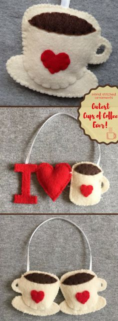 I absolutely love these adorable hand stitched felt coffee ornaments. The perfect gift for the coffee lover in your life. Valentine's | Christmas | Birthday | Friends | Just BecauseI Love Coffee Ornament in Felt, Starbucks, Dunkin Donuts, Latte #Ad #Coffee #DIY #Crafts #Ornaments #handmade #gifts