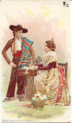 Singer Sewing  Valencia, Spain - Victorian Trade card 1892