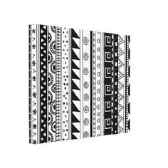 Black and white Tribal pattern Canvas Print