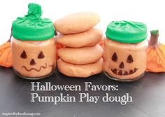 DIY Halloween Party Favors: Pumpkin Play Dough - These are so easy to make and are a great alternative to candy!