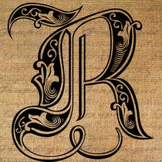 LETTER Initial R Monogram Old ENGRAVING Style Type Text Word Digital Image Download Sheet Transfer To Pillows Totes Tea Towels Burlap 2211R