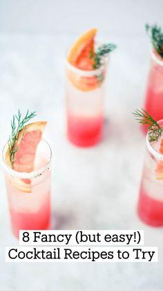 Spring Cocktails, Easy Cocktails, Fancy Drinks, Cocktail Drinks, Cool Drinks, Simple Cocktail Recipes, Grapefruit Cocktail, Refreshing Summer Cocktails, Colorful Cocktails