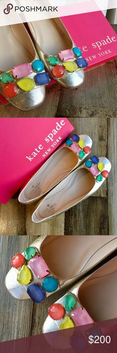 Kate Spade Nadja jewel-detail buckle flat, Platino Sweet and sophisticated, this kate spade new york ballerina mixes metallic gold leather with candy-colored crystals. - EXCELLENT, like-new condition with no signs of wear with the exception of very minimal wear to the sole and possible minor creasing on the insole- only worn a couple of times and well taken care of. - Box included - Size 8.5 - Leather upper - Jewel-tone rhinestones adorn square buckle - Padded leather insole - Originally…