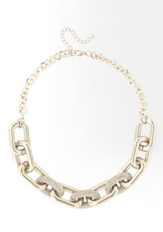 Rectangular Chainlink & Crystal Necklace