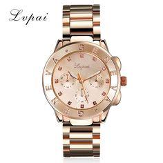 New Arrive Women Gold Steel Bracelet Watch Luxury Sport Quartz Wristwatch Crystal Women Dress Jewelry Electronic Business Watch