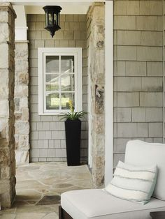 Shingle and Stone exterior, I like how the bump out has a window. Good to remember.