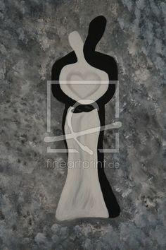 Umarmung - Bild gemalt schwarz -weiß Run Around, Hanger, Canvas, Frame, Drawing Pictures, Print To Canvas, Monochrome, Figurine, Tela