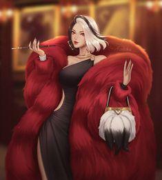 Disney Villains Art, Disney Art, Dark Art Drawings, Animal Drawings, Cute Cartoon Wallpapers, Animes Wallpapers, Pixar, Dibujos Tumblr A Color, Cruella Deville