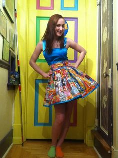 This is my candy dress. The skirt is made out of packing tape and candy wrappers! There is a pencil dress underneath so I wouldn't be flashing everyone