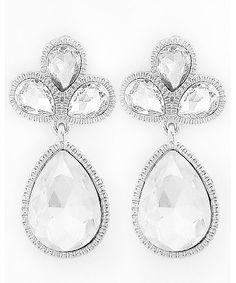 439651 Rhodiumized / Clear Glass / Lead&nickel Compliant / Tear Drop Dangle / Post Earring Set