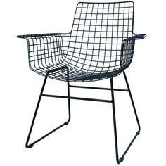 HK-living Stoel wire met armleuning zwart metaal 72x56x86cm - wonenmetlef.nl. Als fauteuil bij de zithoek.