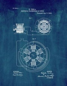 This is a Patent Print for a Tesla Electrical Transmission of Power. It was invented by Nikola Tesla and it was issued on January 1894 by the United States Patent and Trademark Office. Tesla Technology, Engineering Technology, Mechanical Engineering, Electrical Engineering, Automotive Engineering, Tesla S, Tesla Power, Tesla Coil, Nikola Tesla Patents