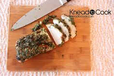 Garden herb rubbed pork tenderloin.