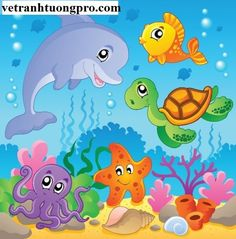 Image With Undersea Theme 2 – Vector Illustration Royalty Free Cliparts, Vectors, And Stock Illustration. Art Drawings For Kids, Drawing For Kids, Art For Kids, Cartoon Drawings, Cartoon Sea Animals, Cartoon Fish, School Murals, School Painting, Sea Theme