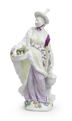 A large Meissen figure of a Malabar woman, mid 18th century