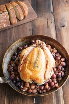 Roasted Chicken and Grapes over Polenta • theVintageMixer.com