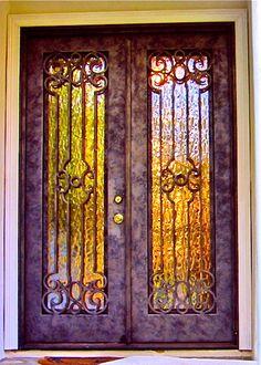 ❤ Hand Carved Wood and Wrought Iron Entry Doors - Leading Door Manufacturer - violet door Cool Doors, Unique Doors, Door Knockers, Door Knobs, Clark Hall, Portal, Purple Door, Yellow Doors, Wrought Iron Doors