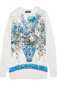 Dolce & Gabbana - Printed Silk-satin And Knitted Silk Sweatshirt - Blue