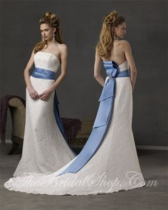 White and Blue Wedding Dress