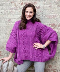 Cable and Bobble Poncho Free Knitting Pattern from Red Heart Yarns