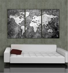 Three panel, Black & White World Map on Gallery Wrapped Canvas makes a beautiful statement on any home or office wall. Set measures 64 x 30 x