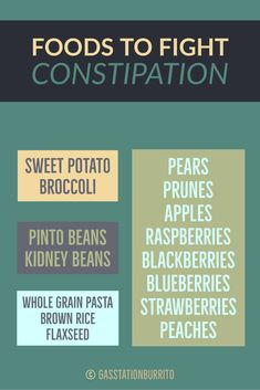 Foods to Fight Constipation Pinto Beans Kidney Beans Sweet Potato Whole Grain Pears Prunes Apples Raspberries Blackberries Blueberries Strawberries Flaxseed Broccoli Peaches Brown Rice Whole Grain Brown Rice, Brown Rice Pasta, Flaxseed, Pinto Beans, Kidney Beans, Blackberries, Pears, Strawberries, Apples