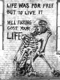 We mostly are all wage slaves that spend 3/4 of their 'awake' living time doing a job we hate but need to in order to pay the mortgage and other bills etc , so claiming we are 'free ' and live in a free country is inaccurate / OK we don't get jailed for slagging up the government ,but apart from free speech ( and that is being chipped away at with political correctness and Internet monitoring ) so to me the street art above is commenting on how little ' QUALITY living time we get to live…