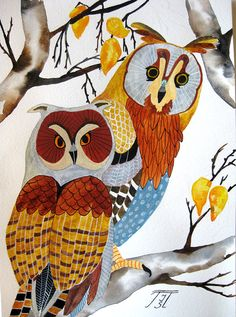 Owls original painting on paper by irinashop on Etsy, $95.00
