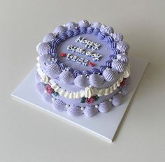 Pretty Birthday Cakes, Pretty Cakes, Beautiful Cakes, Amazing Cakes, Simple Cake Designs, Korean Cake, Pastel Cakes, Cute Baking, Cake Decorating Designs